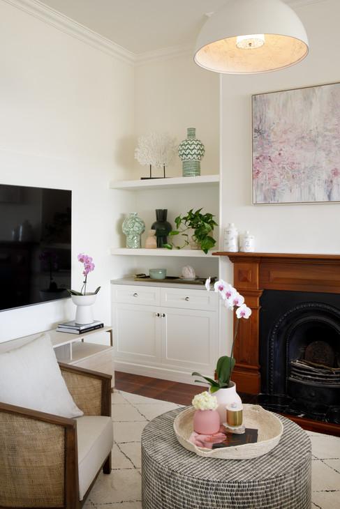 Living room custom joinery