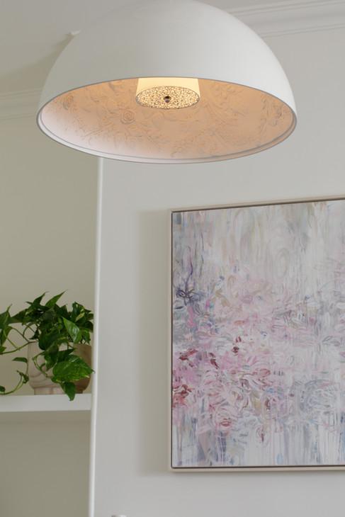 Living room art and pendant detail
