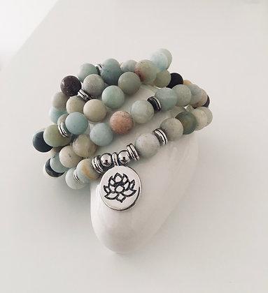 "Bracelet ""Mala"" en Amazonite - Lotus"