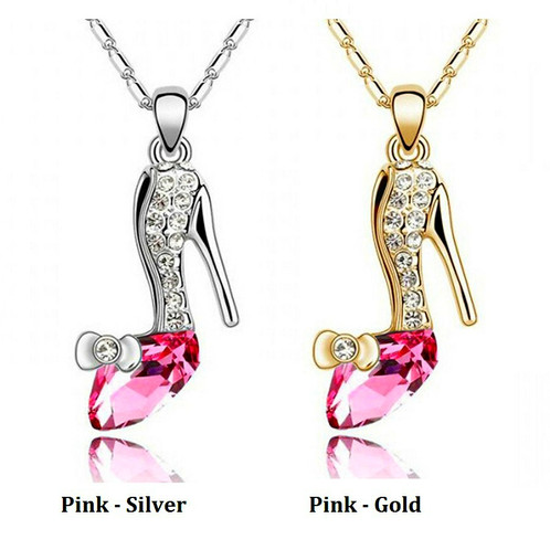 Cinderellas glass slipper crystal necklace aloadofball Choice Image