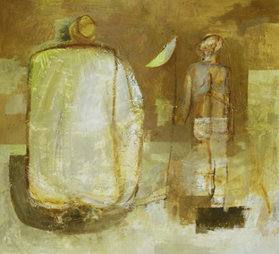 the boy with a fishing Net, 2013, oil on canvas , 152cm x 172 cm