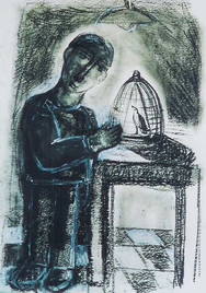 The Boy and the Bird II, 2002 Charcoal o