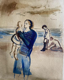 Mother and children on the beach