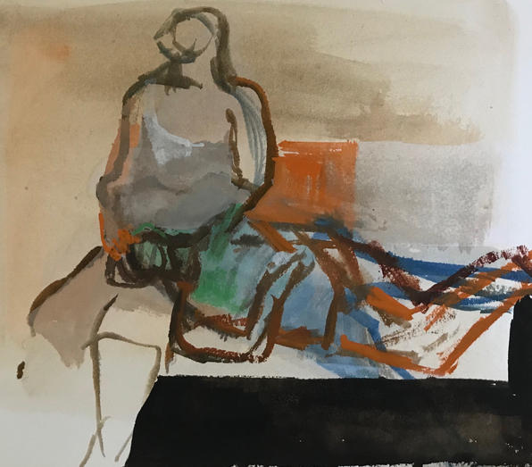Two figures resting on a bench