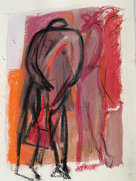 Tobias and The Angel in pink and orange 2019