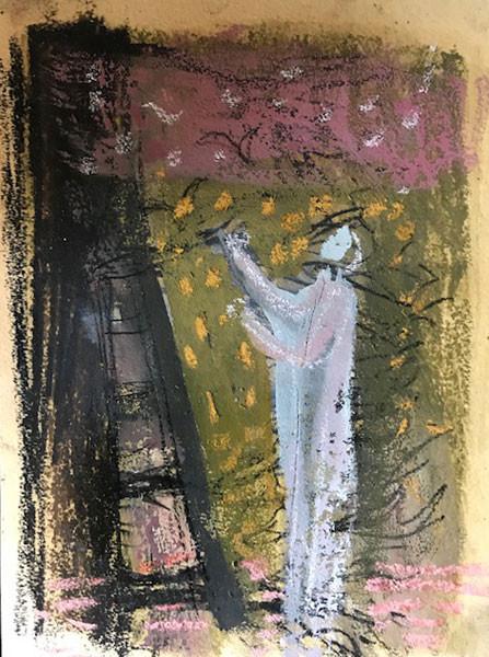 dream figure, 18. Conte mixed med, 19cmx