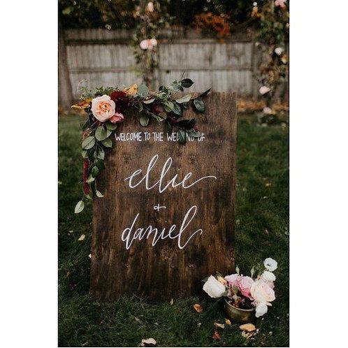 Hout bord inclusief bloemen