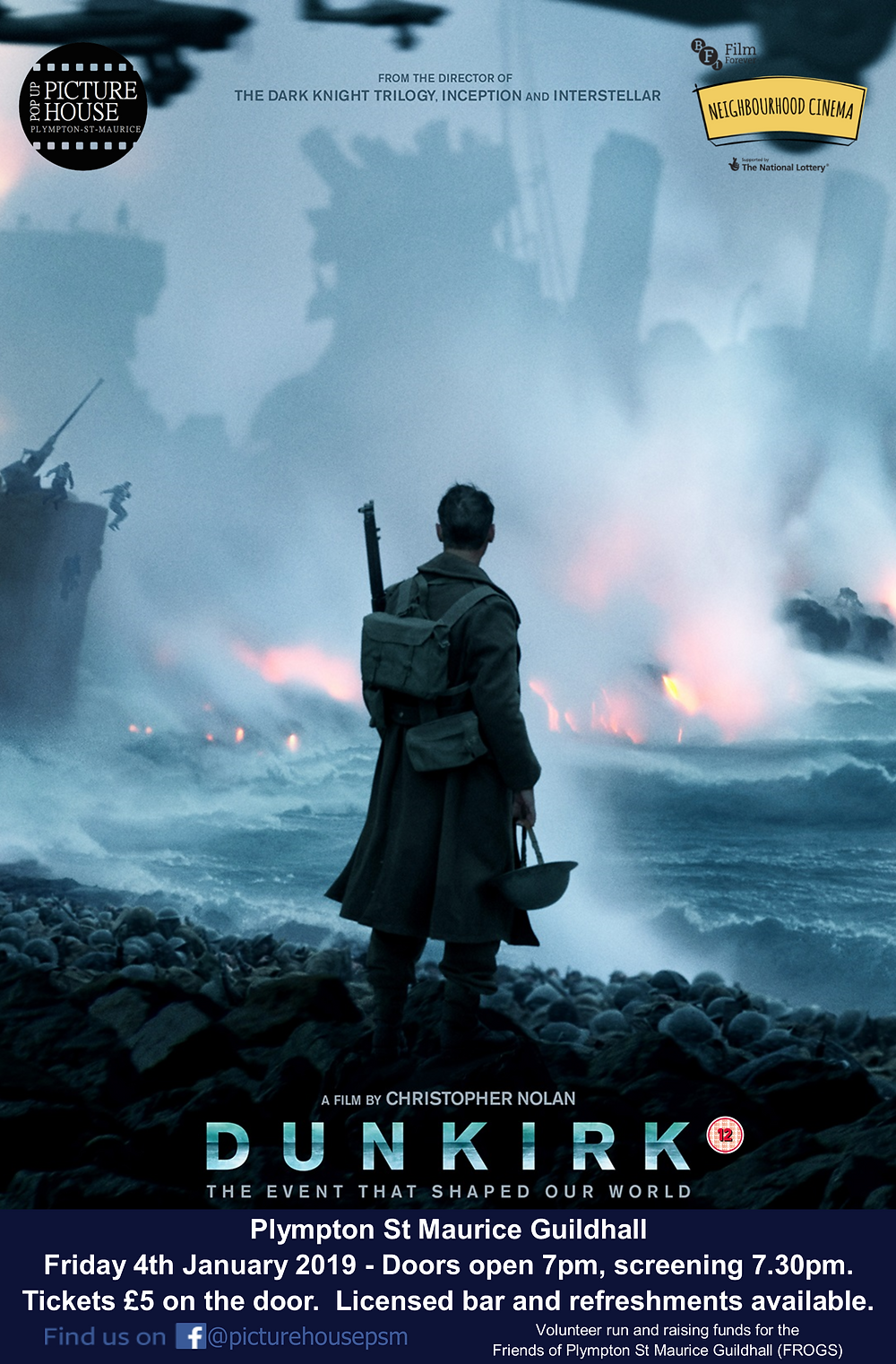 Plympton St Maurice Pop Up Cinema January Dunkirk