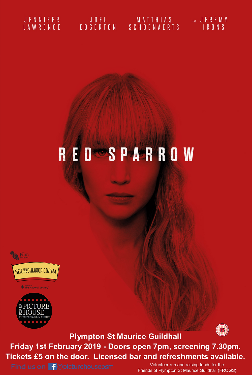 Plympton St Maurice Pop Up Cinema February Red Sparrow