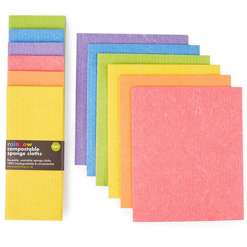 Rainbow Compostable Sponge Cleaning Cloths