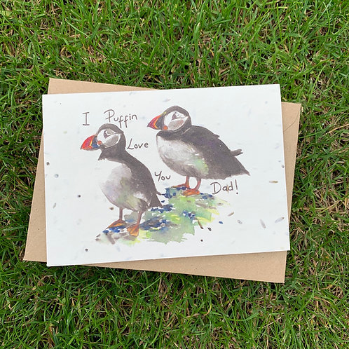 Plantable Card - I Puffin Love You Dad