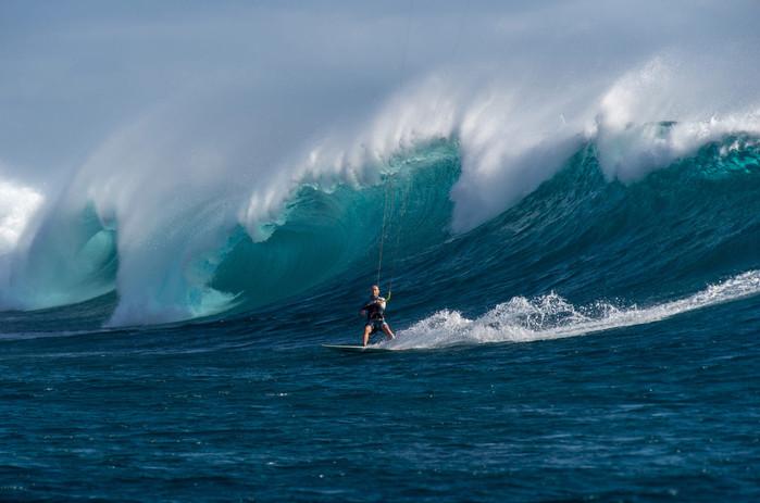 Kitesurf en olas en Isla Mauricio