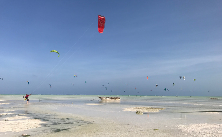 Playas de Zanzíbar kitesurfing