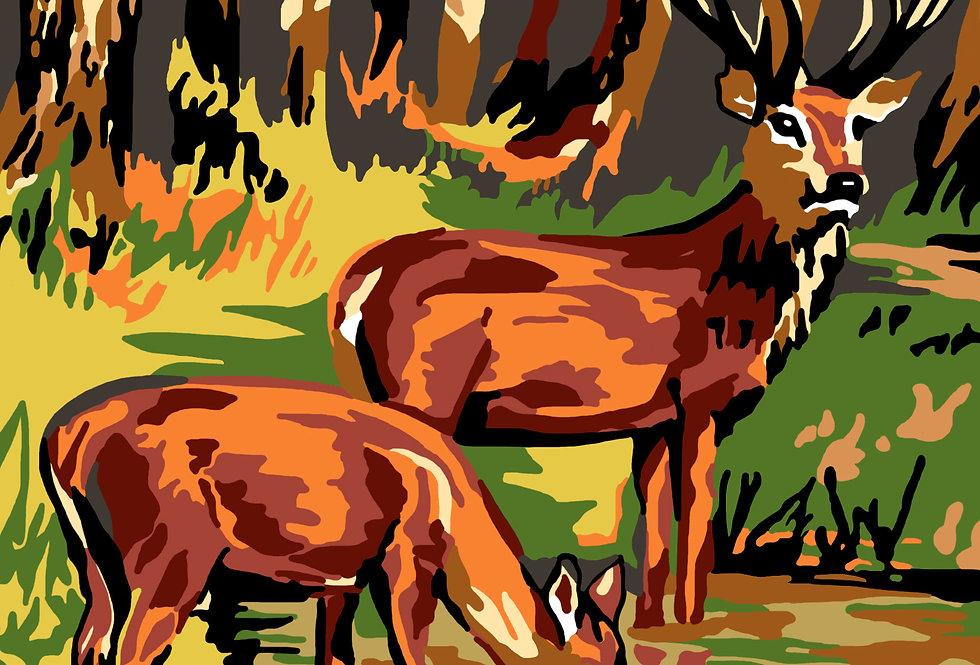 PT50 - Deer | Printed Needlepoint