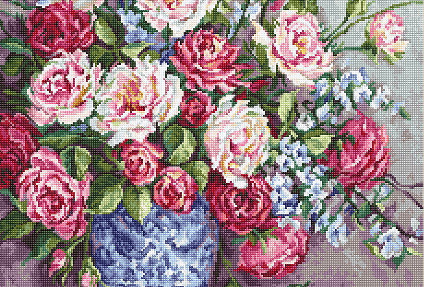 B605 HER MAJESTY'S ROSES - Cross Stitch Kit Luca-S