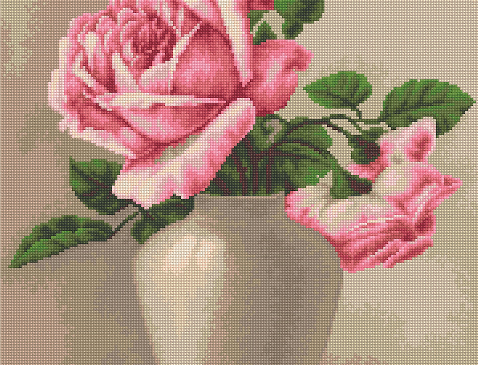 507 Roses in the Vase - Cross Stitch Pattern