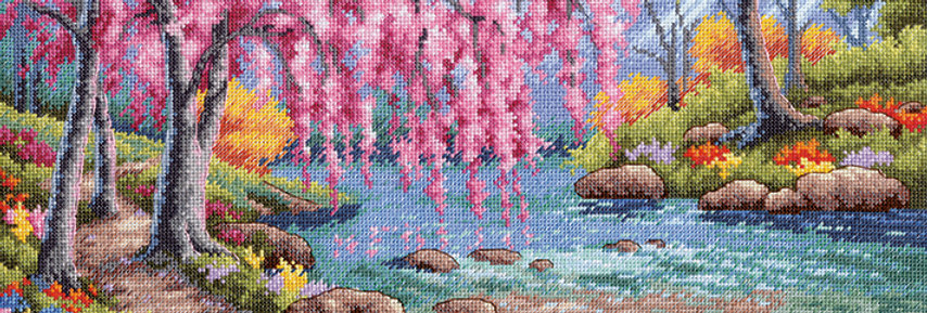 Cherry Blossom Creek | Counted Cross Stitch | DIMENSIONS