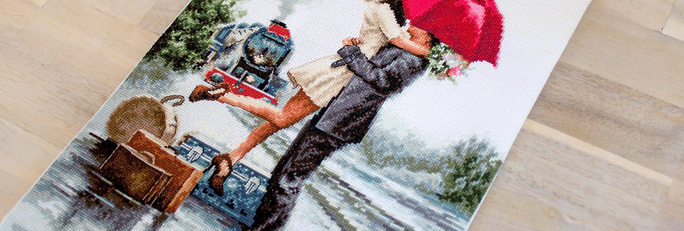 B2369 Couple on train station - Cross Stitch Kit Luca-S