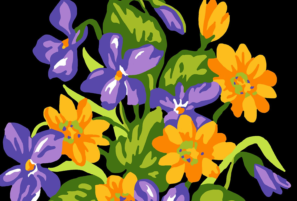 PT56 - Flowers   Printed Cross Stitch