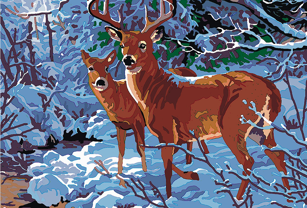 PT22 - Deer | Printed Needlepoint