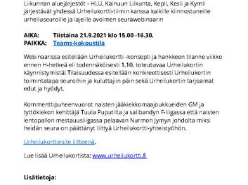 Liity mukaan Urheilukorttiin -seurawebinaari 21.9.
