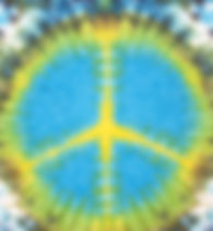 peace sign tie dyed pattern on linen fab