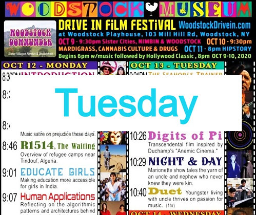 $10 Woodstock Drive-In Ticket +$1 WMFF Oct. 13 Tuesday