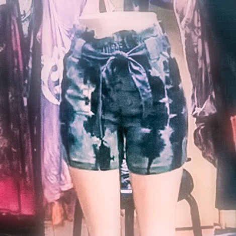 Dyed denim Paper Bag Shorts