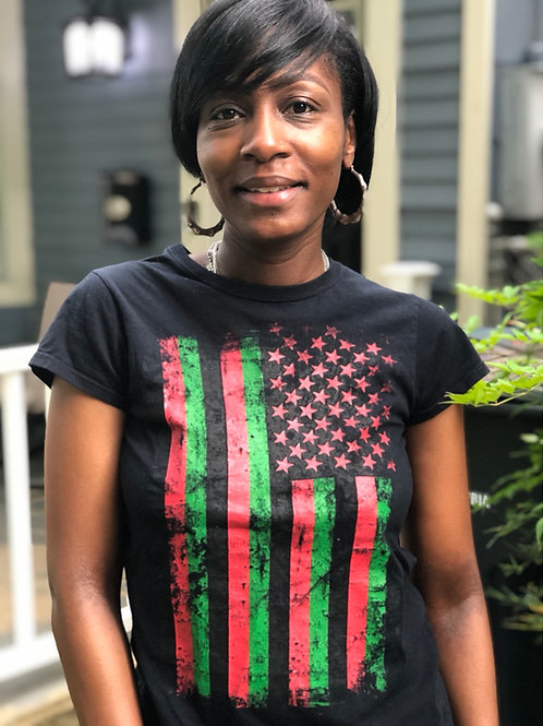 Juneteenth Tee  (Red, Black, And Green African-American Flag)