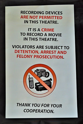 Recording Devices Not Permitted Poster