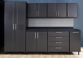 Private Label Cabinets in Pewter and Bla