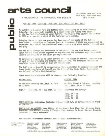 PR PUBLIC ARTS COUNCIL SPONSORS SCULPTURE, with Doris C. Freedman