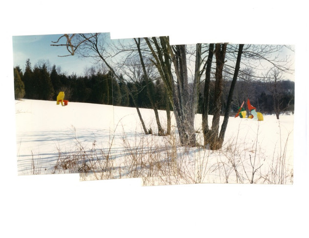 THREE VARIATIONS of Spring Exercise 1984, installed at Barbara Kulicke's Stone House 1993 in Blairstown, NJ