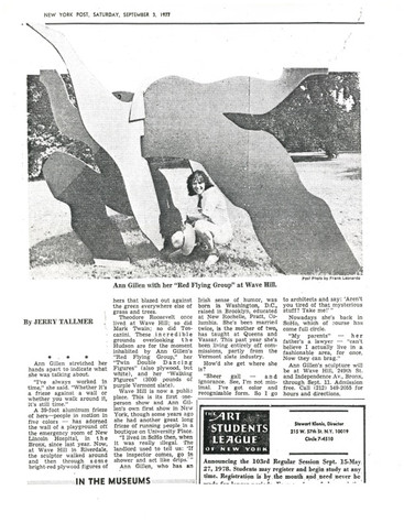NEW YORK POST'S ReviewforWAVE HILL Solo Exhibition Indoor/Out Exhibition 1977
