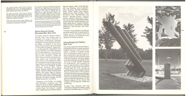 Whitney Museum Book OUTDOOR SCULPTURE 1976, includes writing and a reproduction of Ann Gillen's RUNNING TRIANGLE 1973 at THE STORM KING ART CENTER, NY