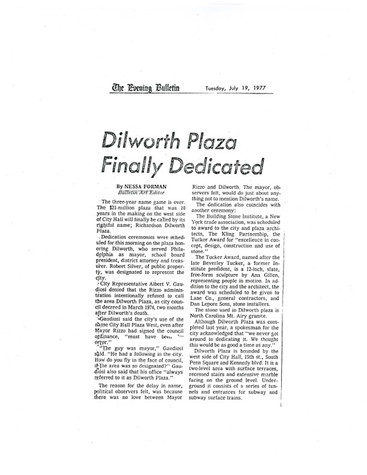 Famous Philadelphia newspaper Art Critic reviews in 1977 a new city Plaza and my design of the TUCKER AWARD for its architects