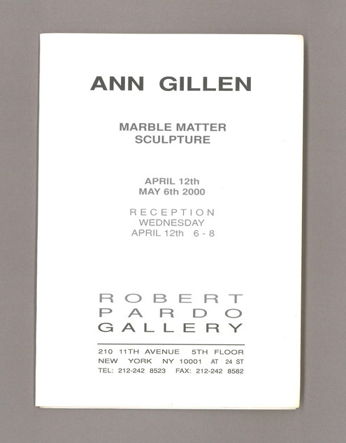 2000 Folded Announcement card in collection of the Getty Research Institute Irving Sandler Archive