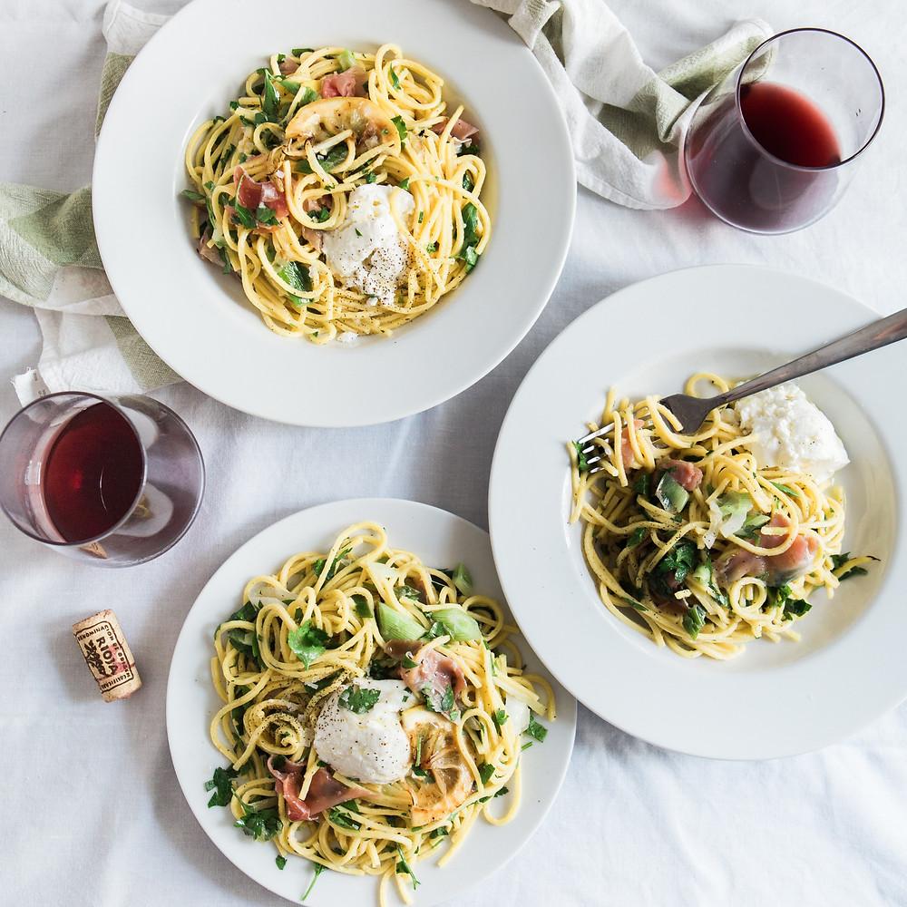 Pasta Spaghetti al-dente Pesto Barilla Spotify Wine