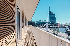 Blick vom Liberty Hotel auf die Havenwelten Bremerhaven