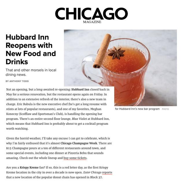 Hubbard Inn in Chicago Magazine