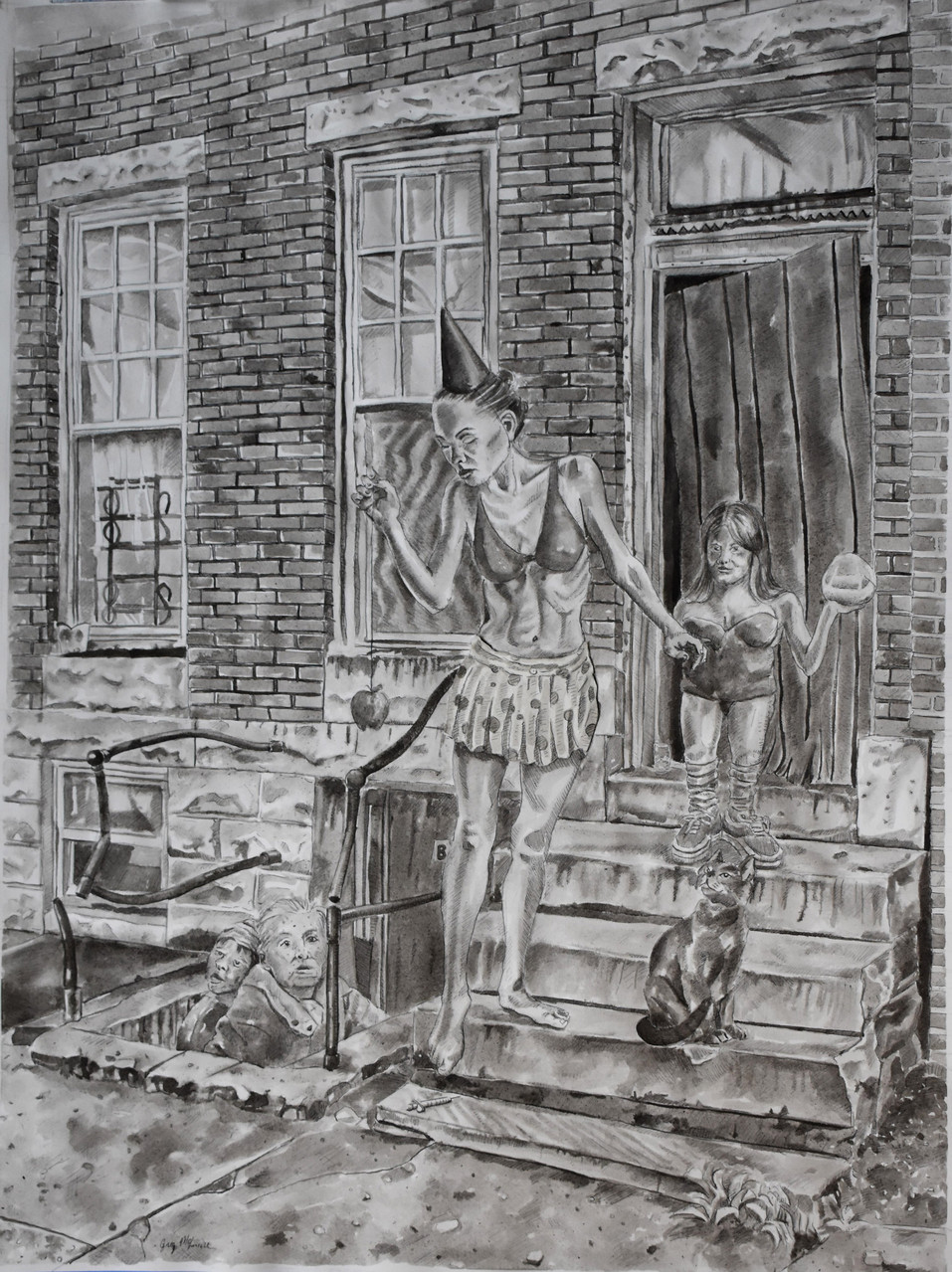 Gregory McLemore (Baltimore, MD), On the Stoop I: Taunting the Basement Dwellers, Unaware of Danger,