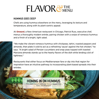 Onward in Flavor & The Menu
