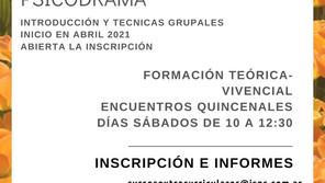 """Formación en Psicodrama 2021- """"Introducción y técnicas grupales"""""""