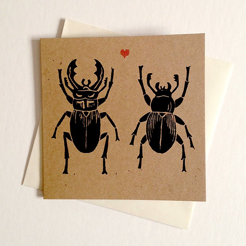 Stag Beetle Love Greeting Card