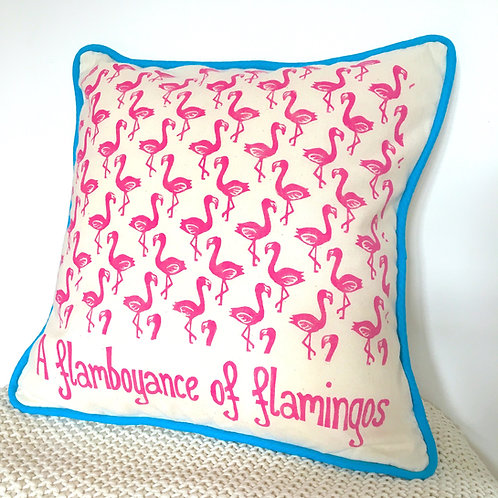 A Flamboyance Of Flamingos Cushion Cover