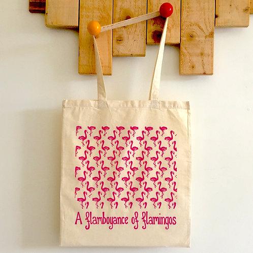 A Flamboyance of Flamingos Linocut Tote Bag