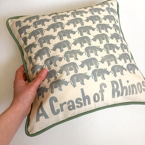 A Crash of Rhinos Cushion Cover