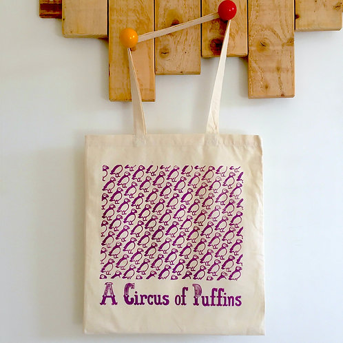 A Circus of Puffins Tote Bag