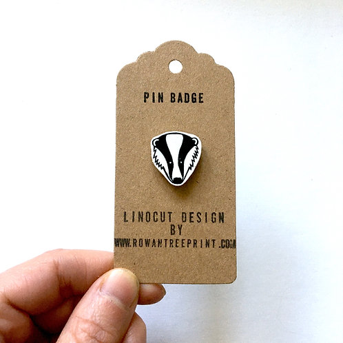 Tiny badger pin badge