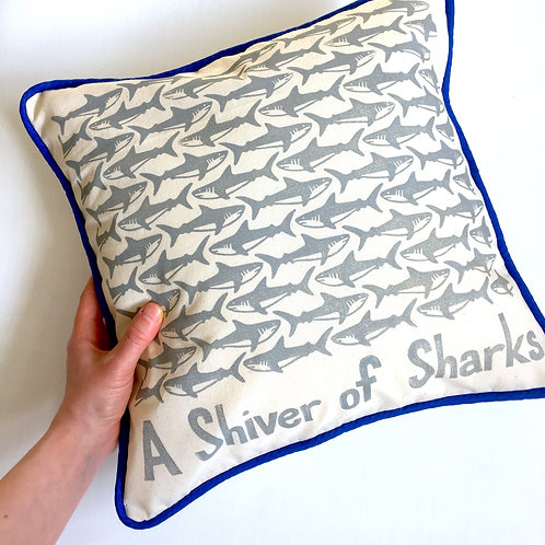 A Shiver of Sharks Cushion Cover